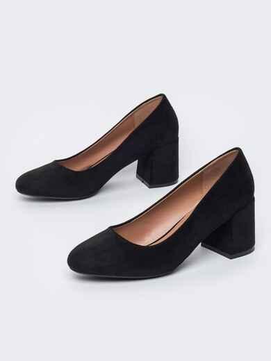 Туфли из искусственной замши на устойчивом каблуке чёрные 45513, фото 1