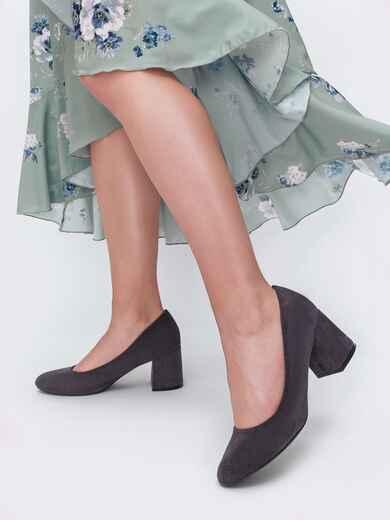Туфли из искусственной замши на устойчивом каблуке графитовые 45512, фото 1