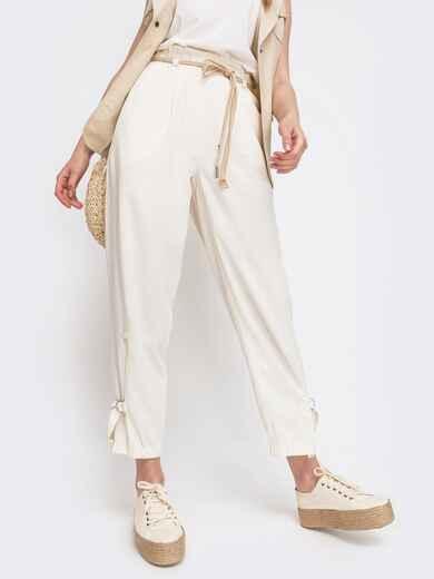 Укороченные брюки с завышенной талией молочный 47742, фото 1