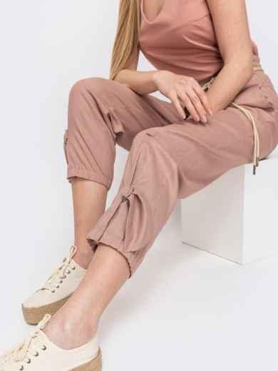 Укороченные брюки с завышенной талией розовые - 47745, фото 2 – интернет-магазин Dressa