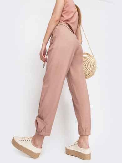 Укороченные брюки с завышенной талией розовые - 47745, фото 3 – интернет-магазин Dressa