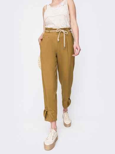 Укороченные брюки с завышенной талией желтые 47746, фото 1