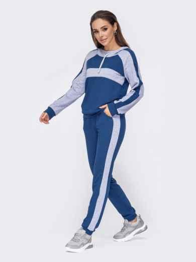 Синий спортивный костюм из кофты с капюшоном и брюк 52651, фото 1