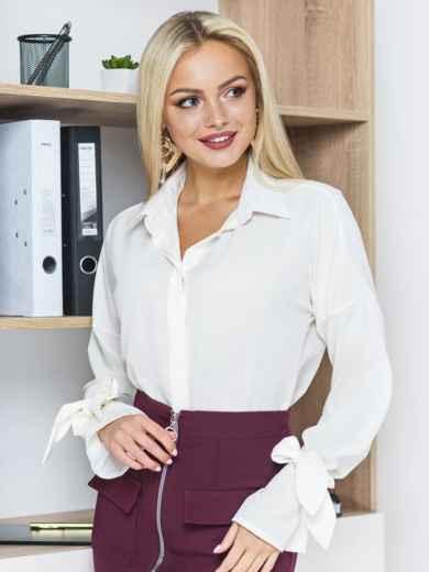 Белая шифоновая блузка с рукавами на завязках - 13204, фото 2 – интернет-магазин Dressa