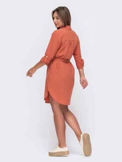 Коралловое платье-рубашка с клапанами на полочке 49539, фото 2