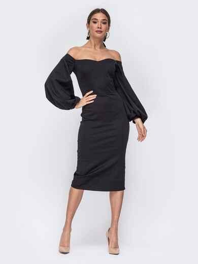 Платье-футляр с открытыми плечами чёрное - 43693, фото 1 – интернет-магазин Dressa