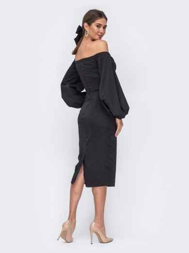 Платье-футляр с открытыми плечами чёрное - 43693, фото 4 – интернет-магазин Dressa