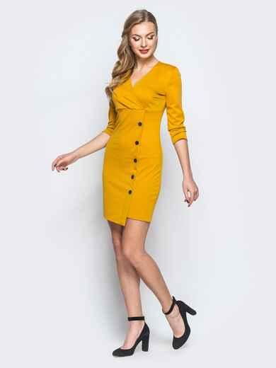 Платье с ложным запахом и декоративными пуговицами желтое - 18268, фото 1 – интернет-магазин Dressa