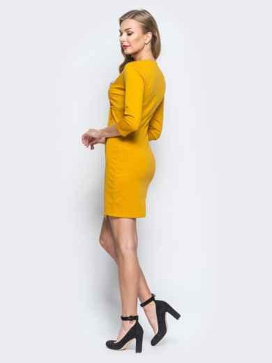 Платье с ложным запахом и декоративными пуговицами желтое - 18268, фото 2 – интернет-магазин Dressa