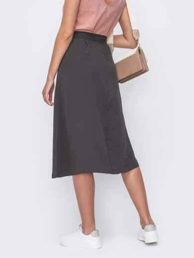 Расклешенная юбка-миди на пуговицах серая 49426, фото 2