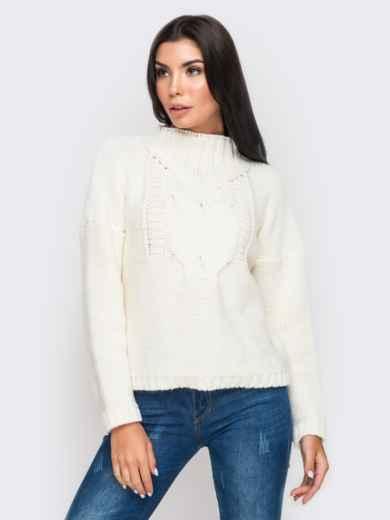 Свитер с объемными рукавами со спущенным плечом белый - 12971, фото 2 – интернет-магазин Dressa