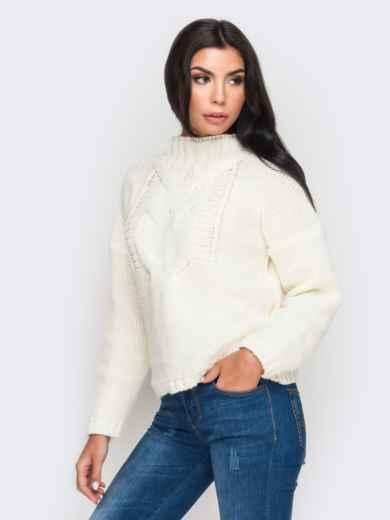 Свитер с объемными рукавами со спущенным плечом белый - 12971, фото 3 – интернет-магазин Dressa