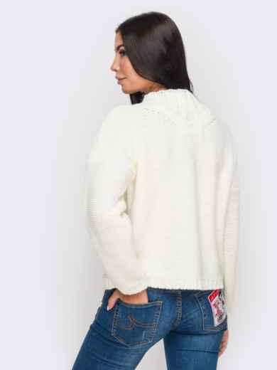 Свитер с объемными рукавами со спущенным плечом белый - 12971, фото 4 – интернет-магазин Dressa