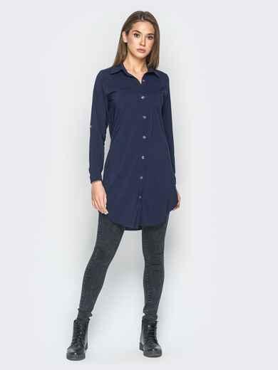 Удлиненная рубашка тёмно-синего цвета с накаткой на спине - 18273, фото 1 – интернет-магазин Dressa