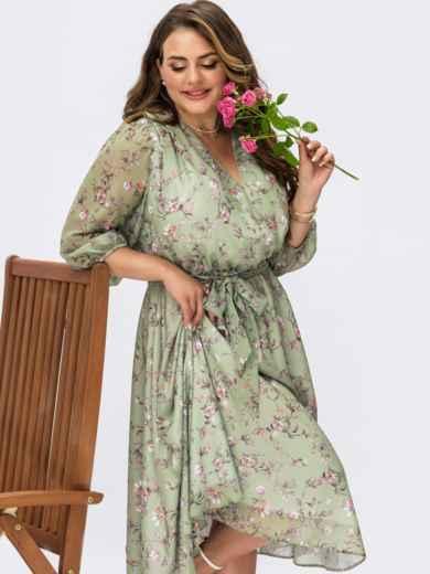 Зеленое платье батал из шифона с принтом и фиксированным запахом 54465, фото 1