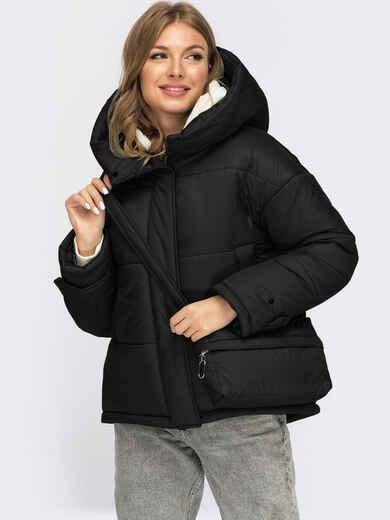 Зимняя куртка черного цвета с сумкой в комплекте 55481, фото 2