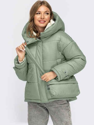 Зимняя куртка мятного цвета с сумкой в комплекте 55486, фото 1