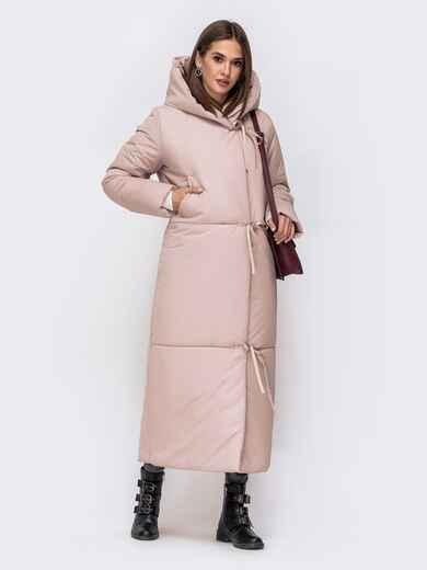 Зимняя куртка в пол со вшитым капюшоном розовая 43832, фото 1