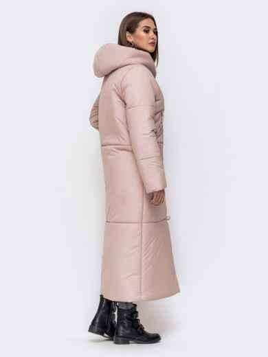 Зимняя куртка в пол со вшитым капюшоном розовая 43832, фото 2
