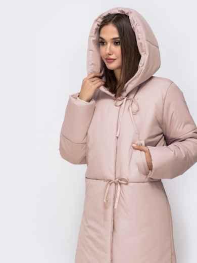 Зимняя куртка в пол со вшитым капюшоном розовая 43832, фото 3