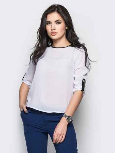 Белая блузка с удлиненной спинкой и контрастными шлёвками - 12234, фото 2 – интернет-магазин Dressa