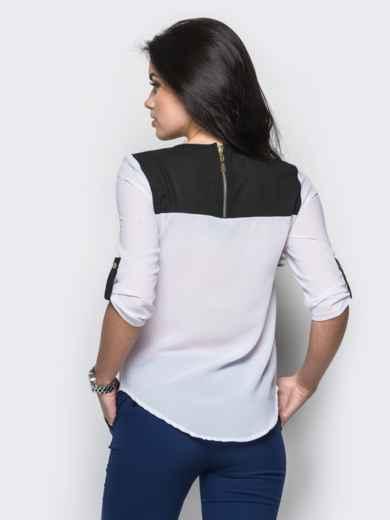 Белая блузка с удлиненной спинкой и контрастными шлёвками - 12234, фото 3 – интернет-магазин Dressa