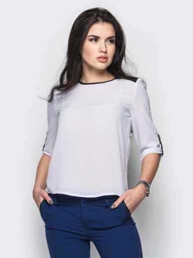 Белая блузка с удлиненной спинкой и контрастными шлёвками - 12234, фото 4 – интернет-магазин Dressa