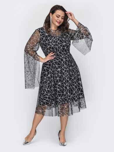 Двухслойное платье батал с расклешенной юбкой черное 52051, фото 1
