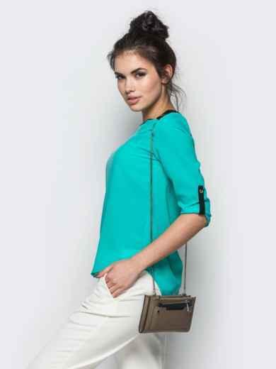 Голубая блузка с удлиненной спинкой и контрастными шлёвками - 10139, фото 2 – интернет-магазин Dressa