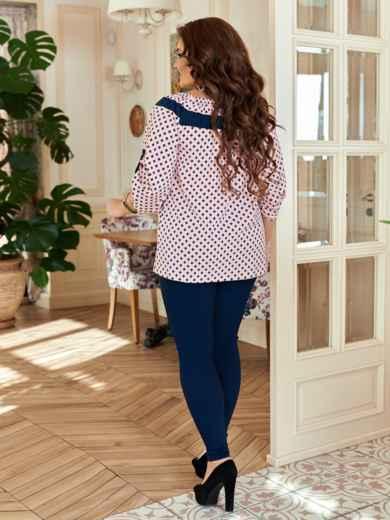Комплект большого размера с принтованной блузкой розовый 47119, фото 2