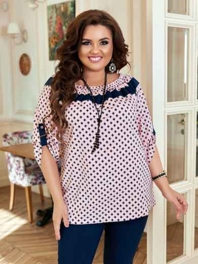 Комплект большого размера с принтованной блузкой розовый 47119, фото 3
