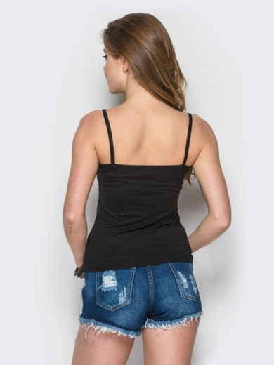 Майка из вискозы с нерегулируемыми бретелями черная - 12854, фото 2 – интернет-магазин Dressa
