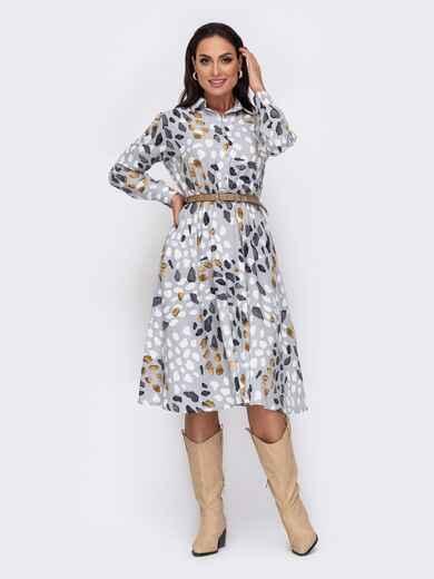 Принтованное платье-рубашка большого размера серое 52048, фото 1