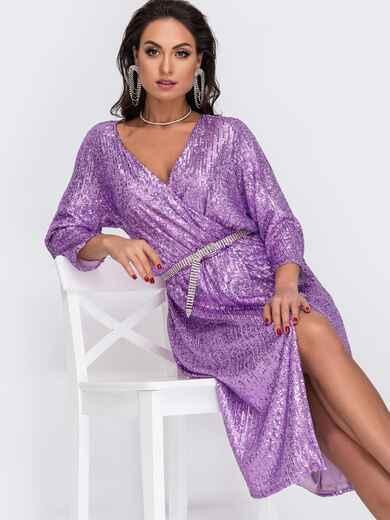 Сиреневое платье большого размера с пайетками 52053, фото 1