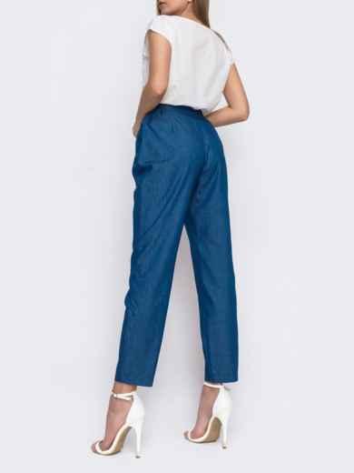 Зауженные брюки с высокой посадкой синего цвета 48030, фото 2