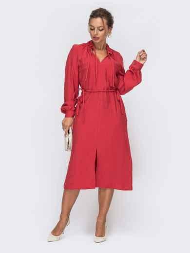 Красное платье с рукавом-реглан и разрезом спереди 50141, фото 1