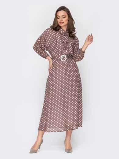 Платье из шифона в горох с рукавом «летучая мышь» коричневое 52952, фото 1