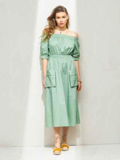 Платье с открытыми плечами и объемными карманами зеленое 46685, фото 1