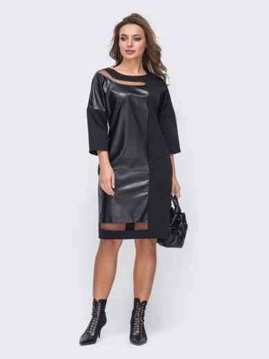 Комбинированное платье со вставками из экокожи черное 55565, фото 1