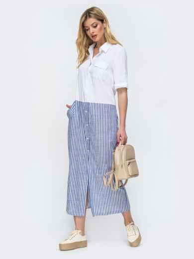 Белое платье-рубашка в узкую синюю полоску по низу 46812, фото 2