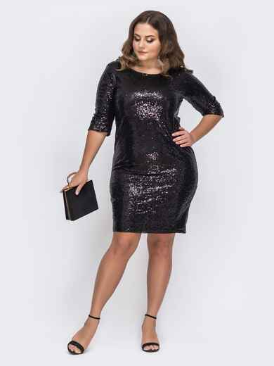 Чёрное платье батал с пайетками и вырезом по спинке 43721, фото 1