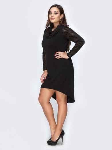 Черное платье из ангоры с удлиненной спинкой - 19163, фото 2 – интернет-магазин Dressa