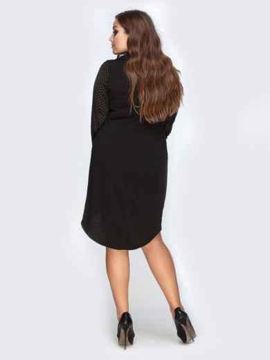 Черное платье из ангоры с удлиненной спинкой - 19163, фото 3 – интернет-магазин Dressa