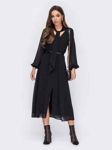 Черное платье из шифона с воротником-аскот 52951, фото 1