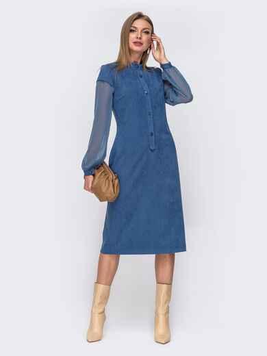 Голубое платье приталенного кроя из замши с шифоновыми рукавами 51561, фото 1