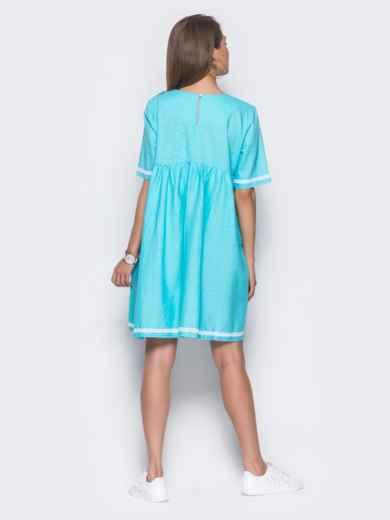 Льняное платье в стиле oversize голубое - 11327, фото 3 – интернет-магазин Dressa