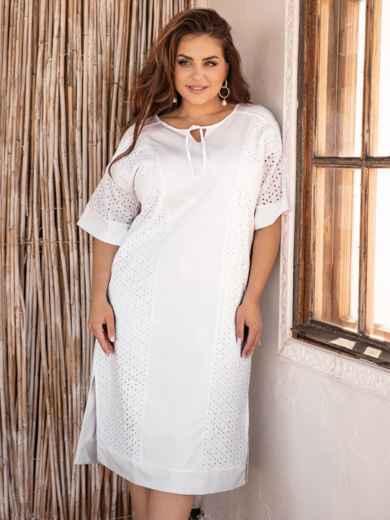 Платье батал из прошвы с разрезами по бокам белое 53864, фото 1