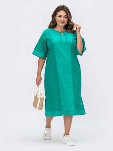 Платье батал из прошвы с разрезами по бокам бирюзовое 53863, фото 1