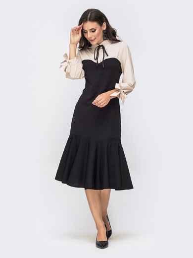Платье-годе с контрастной кокеткой бежевое 41452, фото 1