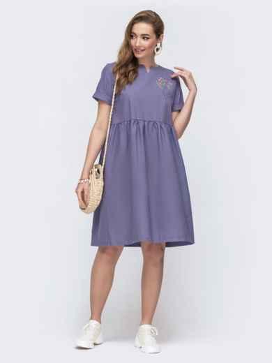 Платье из льна с вышивской на полочке фиолетовое 48161, фото 1